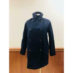 NEW Madewell Double-Breasted City Grid Coat 6 Iconic Indigo H0064